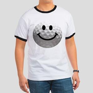 Golf Ball Smiley Ringer T