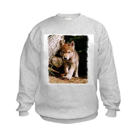 Approaching Wolf Pup Kids Sweatshirt