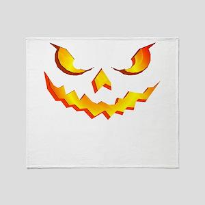 Halloween Pumpkin Face Throw Blanket
