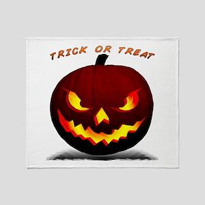 Scary Halloween Pumpkin Throw Blanket