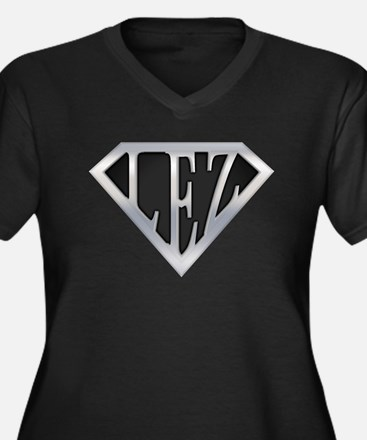 Super Lez Women's Plus Size V-Neck Dark T-Shirt