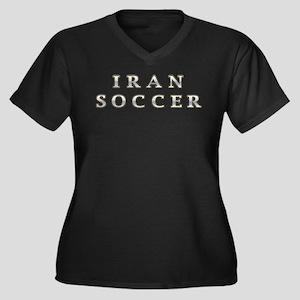 Iran Soccer Women's Plus Size V-Neck Dark T-Shirt