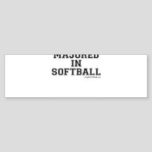 Majored In Softball Sticker (Bumper)