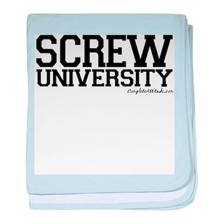 Screw University baby blanket