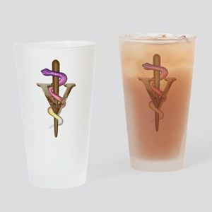 Veterinarian Emblem Drinking Glass