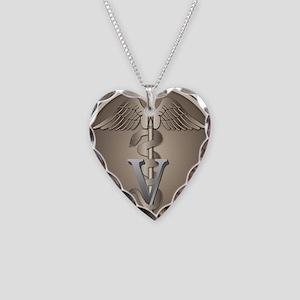 Veterinarian Caduceus Necklace Heart Charm