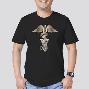 Veterinarian Caduceus Men's Fitted T-Shirt (dark)