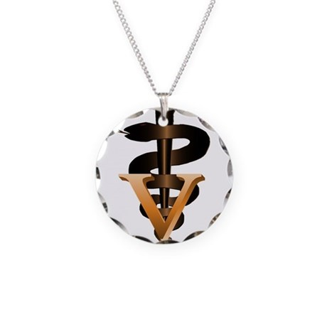 Veterinary Caduceus Necklace Circle Charm