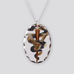 Veterinary Caduceus Necklace Oval Charm