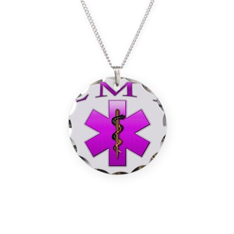 EMT(pink) Necklace Circle Charm