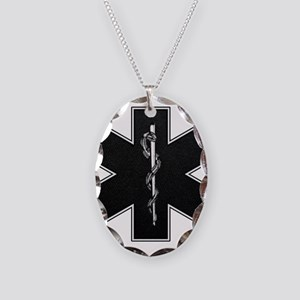 Star of Life(BW) Necklace Oval Charm