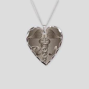 RN Caduceus Gold Necklace Heart Charm