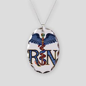 RN Caduceus Necklace Oval Charm