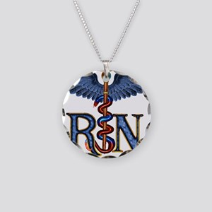 RN Caduceus Necklace Circle Charm