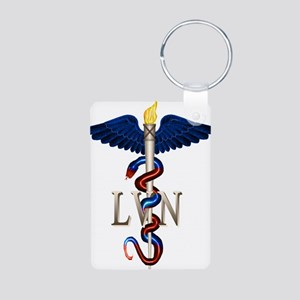 LVN Caduceus Aluminum Photo Keychain