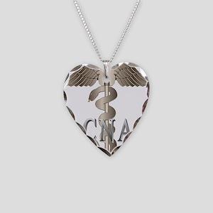 CNA Caduceus Necklace Heart Charm
