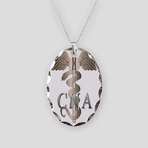CNA Caduceus Necklace Oval Charm