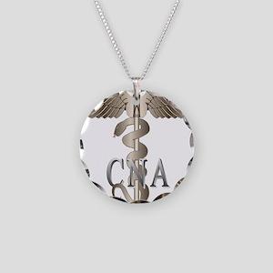 CNA Caduceus Necklace Circle Charm