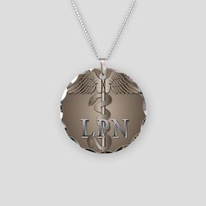 LPN Caduceus Necklace Circle Charm