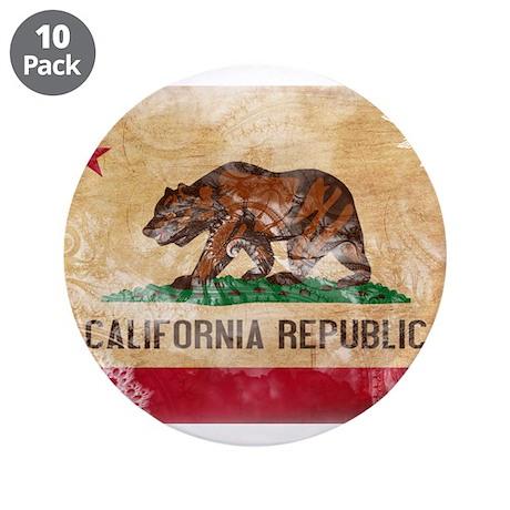 """California Flag 3.5"""" Button (10 pack)"""