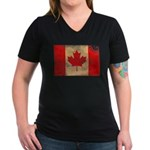 Canada Flag Women's V-Neck Dark T-Shirt