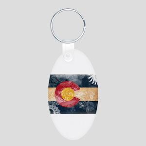 Colorado Flag Aluminum Oval Keychain
