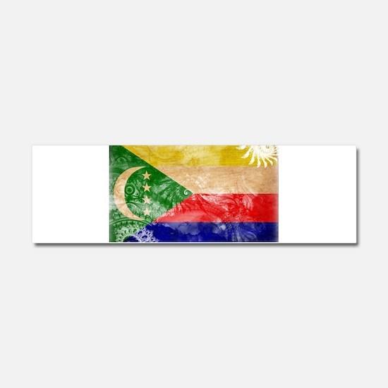 Comoros Flag Car Magnet 10 x 3