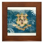 Connecticut Flag Framed Tile