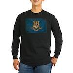 Connecticut Flag Long Sleeve Dark T-Shirt
