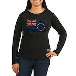 Cook Islands Flag Women's Long Sleeve Dark T-Shirt