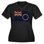 Cook Islands Flag Women's Plus Size V-Neck Dark T-