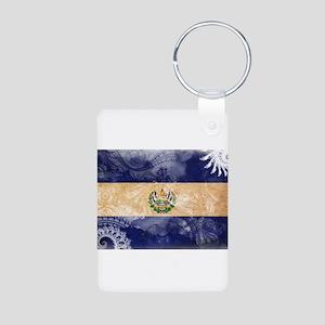 El Salvador Flag Aluminum Photo Keychain