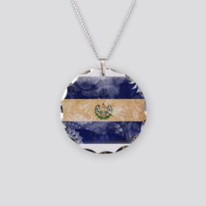El Salvador Flag Necklace Circle Charm