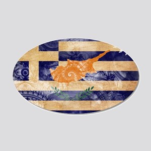 Greek Cyprus Flag 22x14 Oval Wall Peel