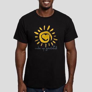 Wake Up Grateful Men's Fitted T-Shirt (dark)