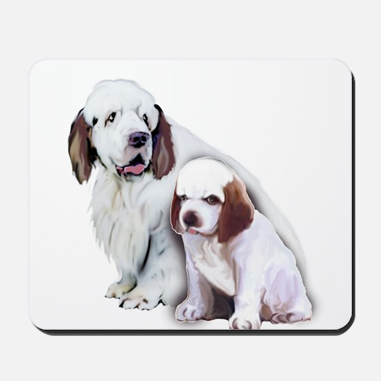 Clumber Mom and Pup Mousepad