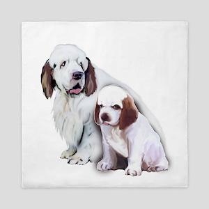 Clumber Mom and Pup Queen Duvet