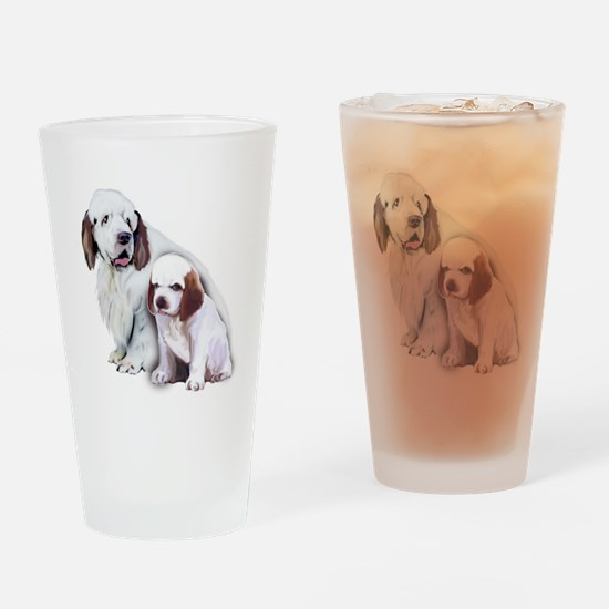 Clumber Mom and Pup Drinking Glass
