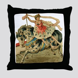 Circus Horse And Rider Throw Pillow