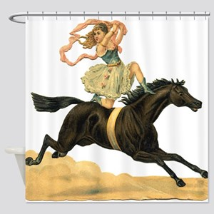 Vintage Horse & Rider Shower Curtain