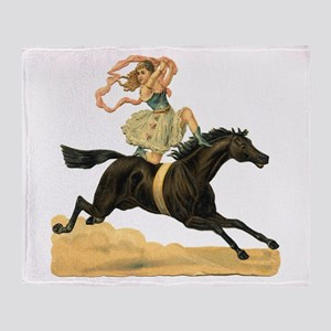 Vintage Horse & Rider Throw Blanket