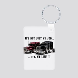 Trucker - it's my life Aluminum Photo Keychain