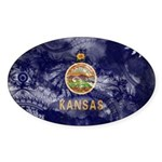 Kansas Flag Sticker (Oval 10 pk)