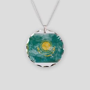 Kazakhstan Flag Necklace Circle Charm