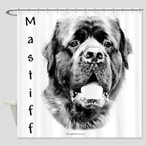 Fluffy Mastiff Charcoal Shower Curtain