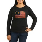 Malaysia Flag Women's Long Sleeve Dark T-Shirt