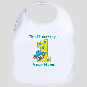 1st Birthday Monkey Boy Bib