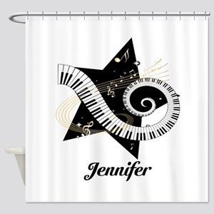 Music star gold black Shower Curtain