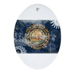 New Hampshire Flag Ornament (Oval)