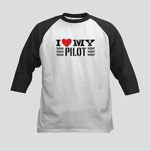 I Love My Pilot Kids Baseball Jersey